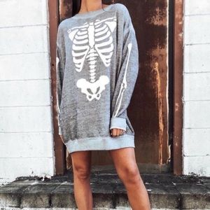 Wildfox X-Ray Vision Skeleton Grey Sweater